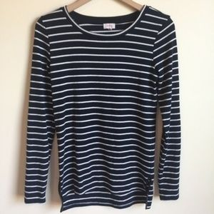 Anthropologie Top Long Sleeve Blue White Striped S